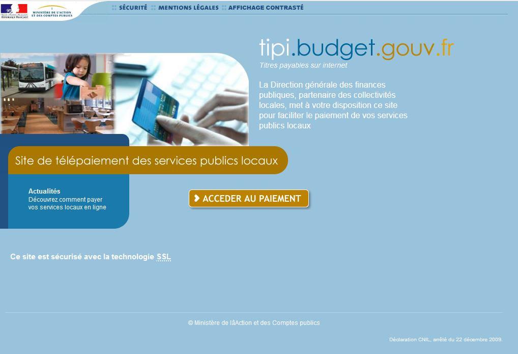 site internet www.tipi.budget.gouv.fr