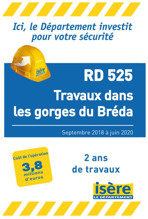 Travaux de la RD525 dans les gorges du Bréda
