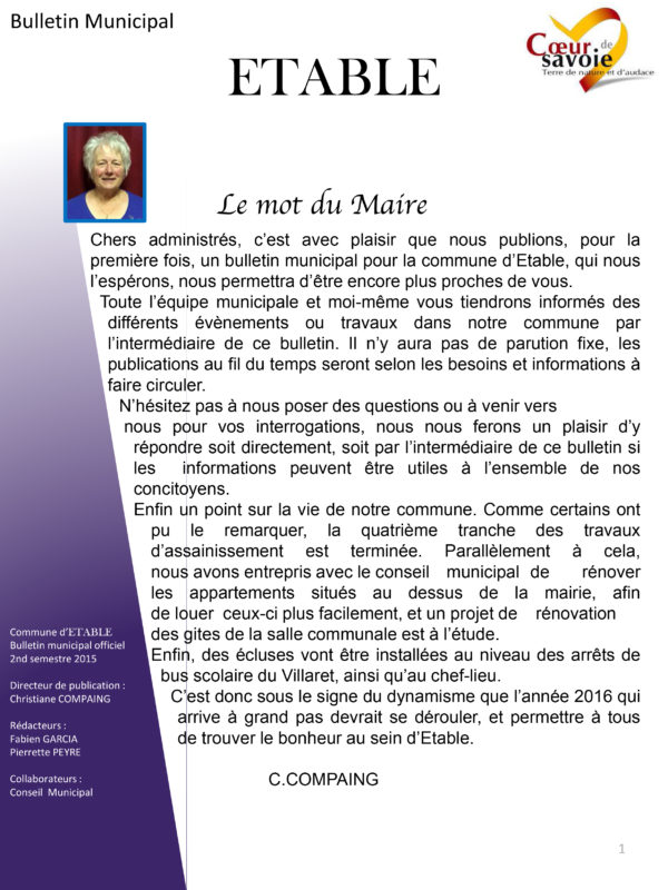 Bulletin municipal Etable 2015