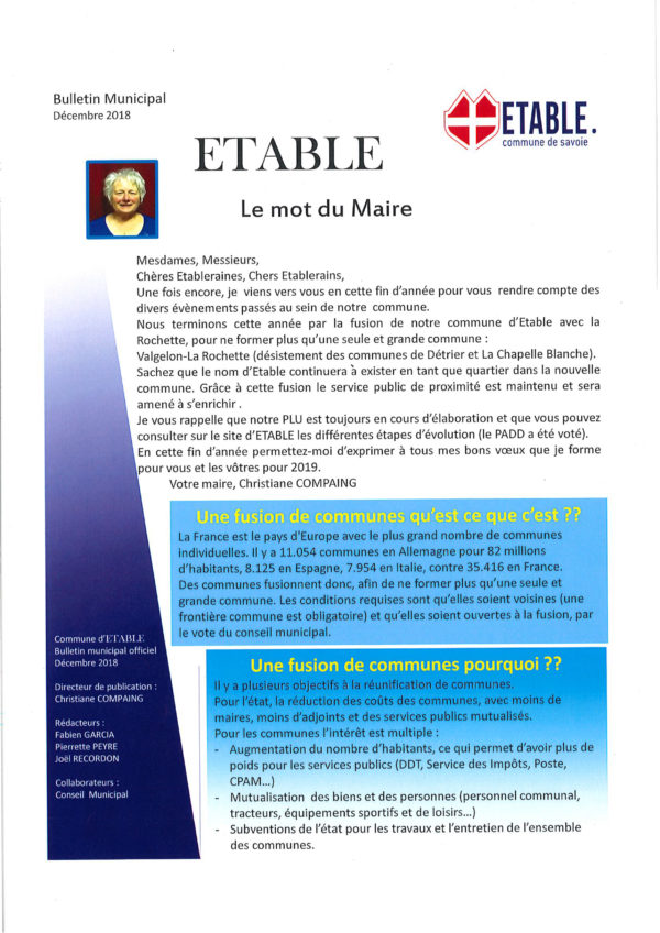 Bulletin municipal Etable 2018