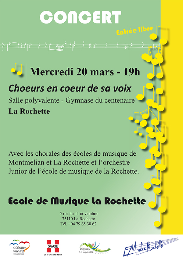 Concert de l'école de musique : «Choeurs en coeur de sa voix»