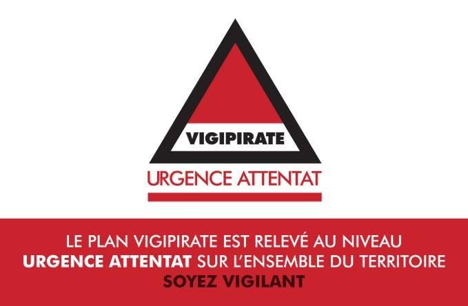 Plan Vigipirate – Niveau Urgence Attentat sur l'ensemble du territoire national